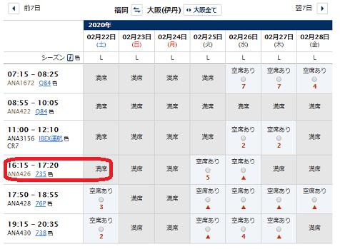 特典航空券の空席状況