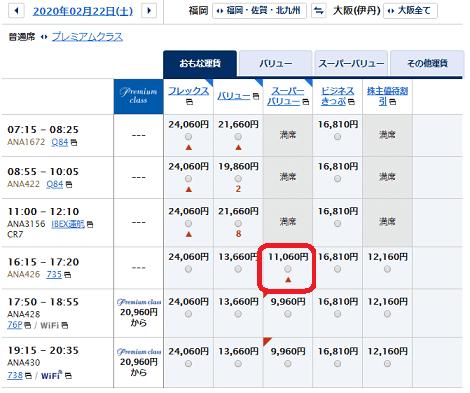 有償航空券の空席状況