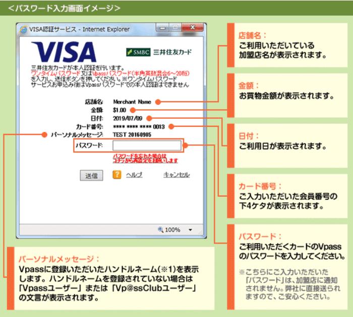 VISAの個人認証画面