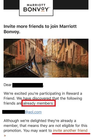 マリオットからの紹介失敗連絡メール