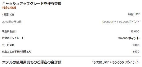 大阪マリオットのアップグレード料金