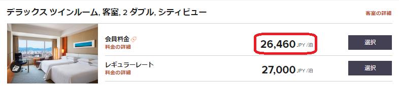 シェラトン広島の宿泊料金例