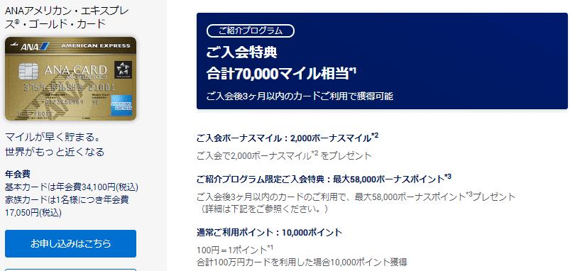 ANAアメックスゴールド紹介キャンペーン内容