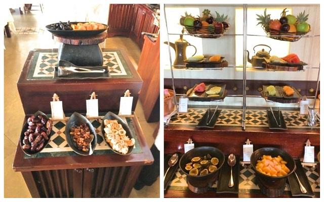 アルマハのレストラン朝食ビュッフェの内容:フルーツ、デーツ