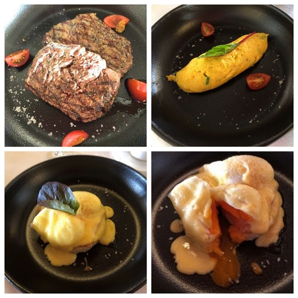アルマハのレストラン朝食の卵料理とステーキ
