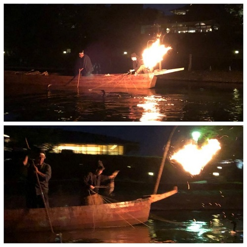 鵜飼船と鵜匠と鵜
