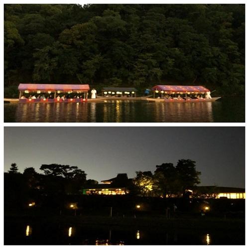 嵐山の鵜飼宮廷船と川辺の景色