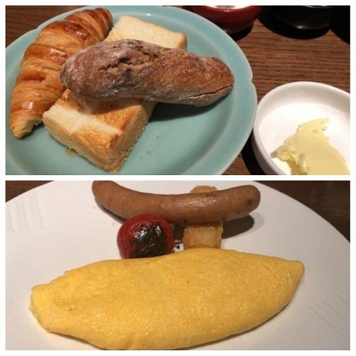翠嵐の朝食の洋食(パンとオムレツ)