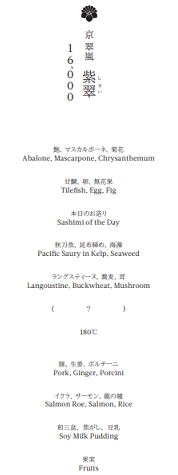 翠嵐のレストランディナーメニュー紫翠