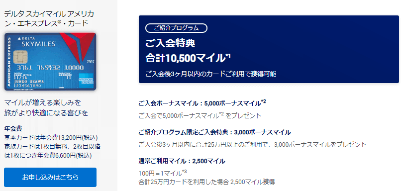 デルタアメックス入会キャンペーン内容画像