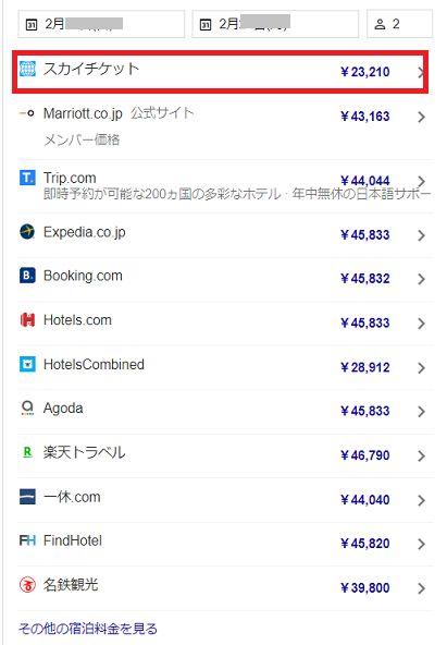 グーグル検索で表示される予約サイトの価格