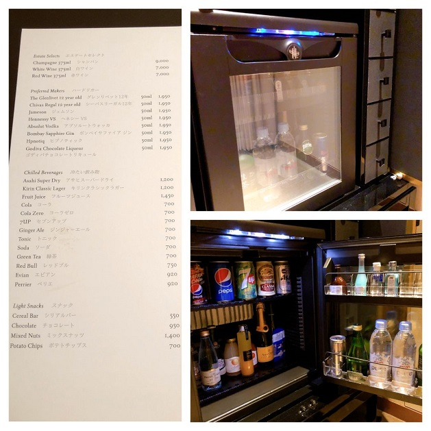冷蔵庫のドリンクと値段表