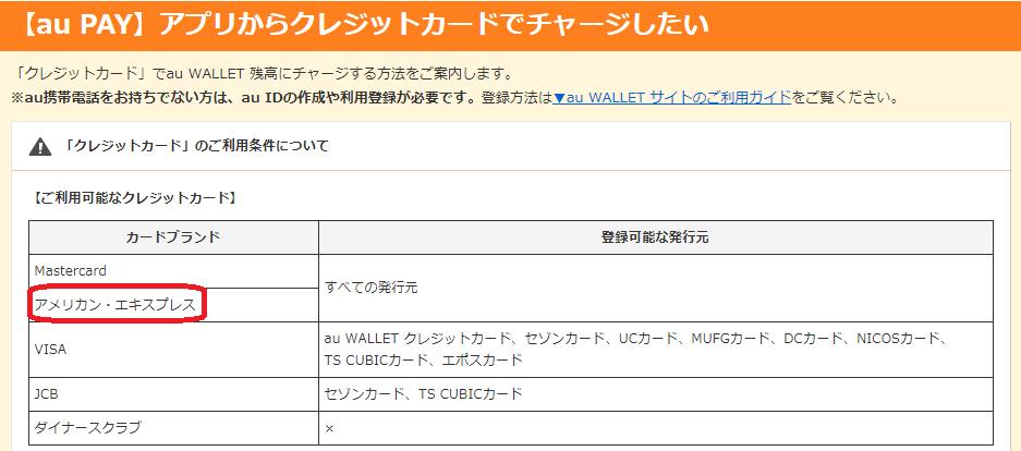 auPayにチャージできるクレジットカード一覧