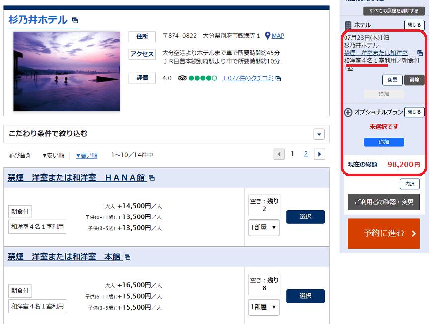 ANAツアーで杉乃井ホテルをスカイコインで支払う画面