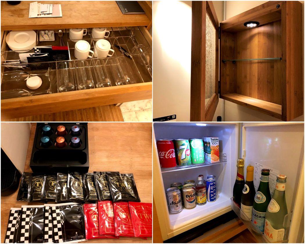 グラスや紅茶、冷蔵庫の有料飲み物
