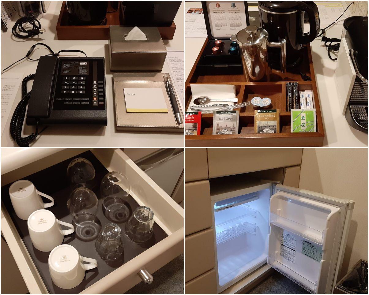 電話・ネスプレッソ・コップ・冷蔵庫