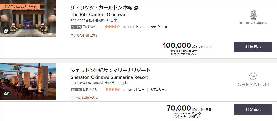沖縄のホテルポイント数