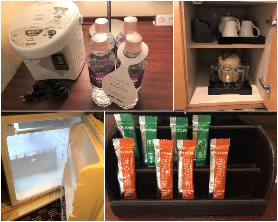 無料のお茶や冷蔵庫